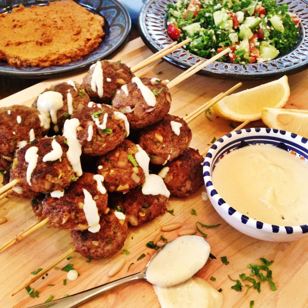 Lamb kofta kebabs with tahina sauce